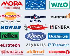 Mora, Attack, Wilo, Gamapo, Atmos, Purmo, Korad, Radiant, Enbra, Reflex, Karma, Buderus, Eurotech, Viadrus, Tatramat, Dražice, Aklimat, Giacomini
